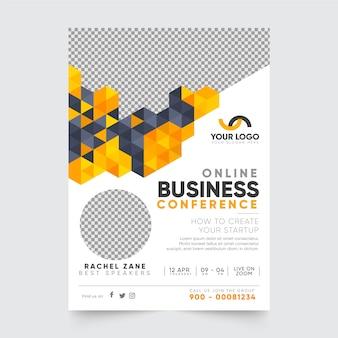 Шаблон плаката онлайн-бизнес-конференции