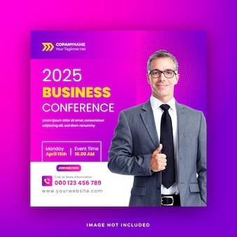 Online business conference social media post or digital marketing live conference web banner