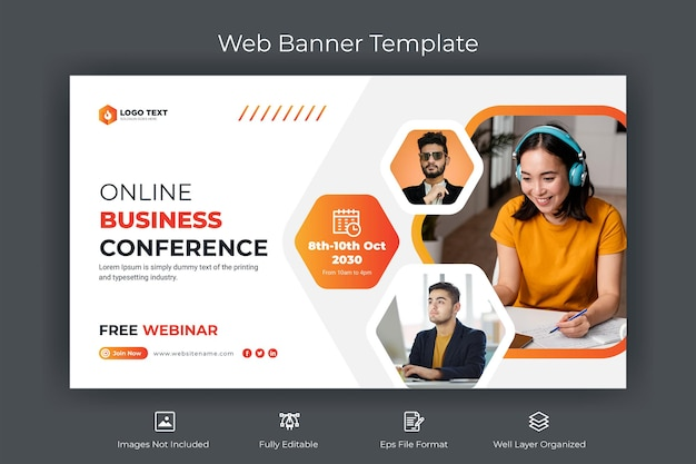 Online business conference web banner and youtube thumbnail template