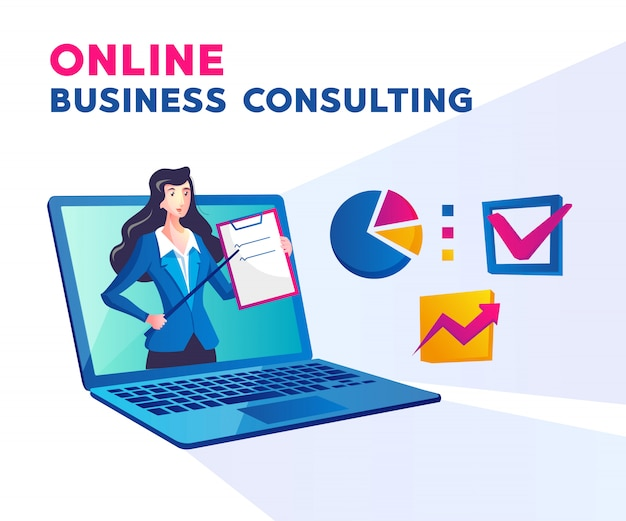 女性とラップトップのシンボルとのオンラインビジネスコンサルティング