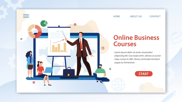 Online business course landing page template