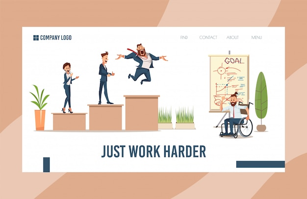 Online business courses flat landing page