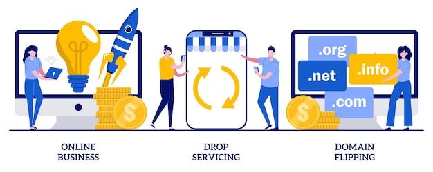 온라인 비즈니스, 드롭 서비스, 도메인 뒤집기 개념. 비즈니스 기회의 집합, 아웃소싱.