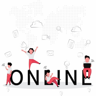 オンラインビジネス機能の人々はコンピューターを使用して遊んでいる間幸せです