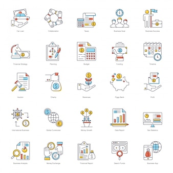 Online business flat icons pack