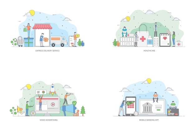 Online business flat illustrations pack