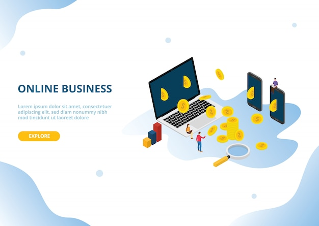 Online business income or profit with isometric style