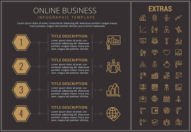 Online business infographic template and elements