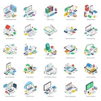Online business isometric pack