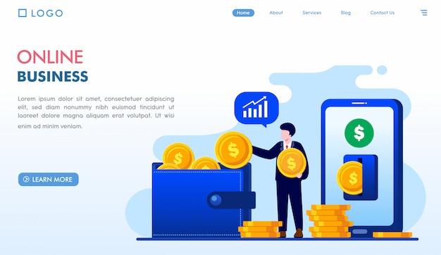 Online business landing page template Premium Vector