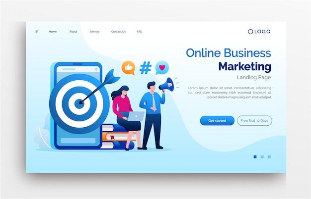 Онлайн бизнес маркетинг целевой страницы веб-сайта плоский шаблон иллюстрации