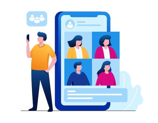 Деловая встреча онлайн плоская векторная иллюстрация для баннера и целевой страницы
