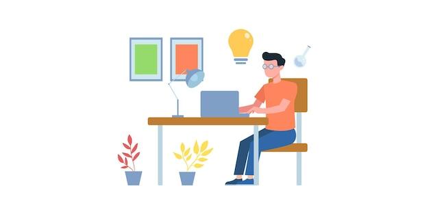온라인 비즈니스 회의 그림입니다. 온라인 코스. 비즈니스 팀과 온라인으로 전화 회의를 하는 남자