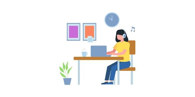온라인 비즈니스 회의 그림입니다. 온라인 코스. 온라인으로 비즈니스 팀과 전화 회의를 하는 여성