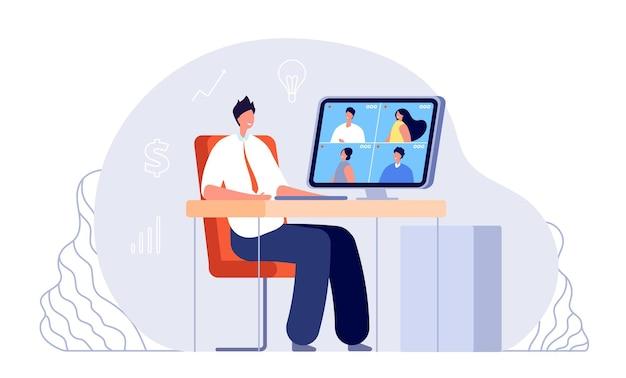 オンラインビジネスミーティング。ビデオ会議、自宅からの事務。ウェブ研究、インターネットネットワーキングまたはチームデジタルウェビナーベクトルイラスト。チームオンラインおよびウェビナーコミュニケーション、デジタルスクリーン