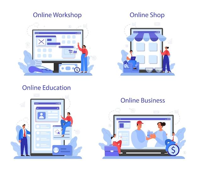 온라인 비즈니스 온라인 서비스 또는 플랫폼 세트