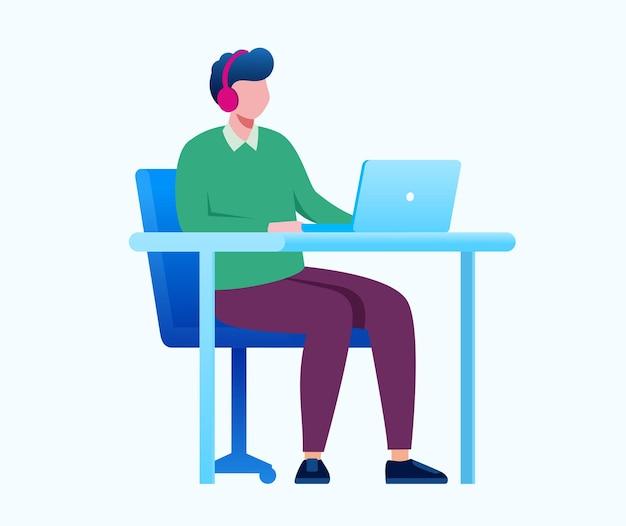 온라인 비즈니스 또는 프리랜서 개념 평면 벡터 일러스트 배너 및 방문 페이지
