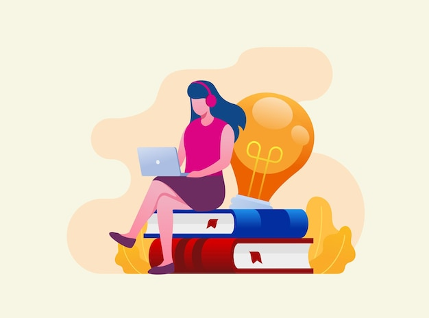 オンラインビジネスまたはフリーランサーの概念フラットベクトルイラストバナーとランディングページ