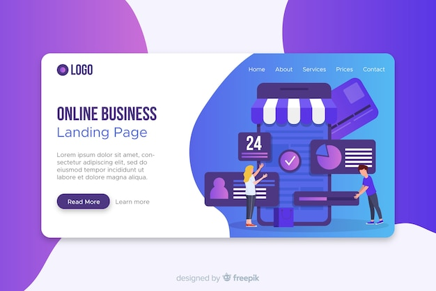 Online business page template with photo