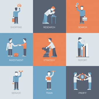 Online business shopping people figures situations icon set.
