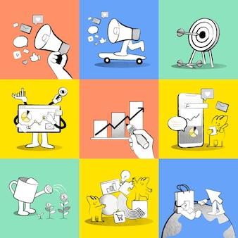 Vettore di strategia aziendale online doodle illustrazioni colorate per la raccolta di marketing