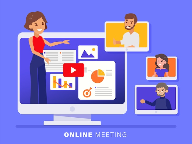 Online business team meeting held via a video conference call.