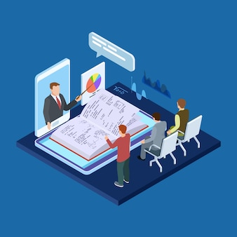 Online business training 3d isometric vector concept