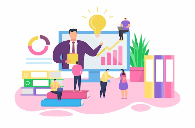オンラインビジネストレーニング、漫画白のトレーナービジネスマンキャラクターとの会議で小さな人々