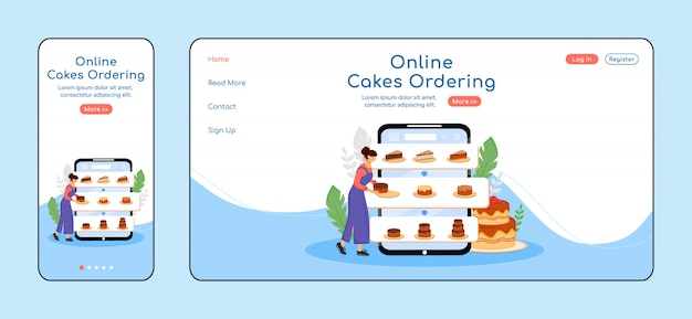 Online cakes ordering adaptive landing page  color  template. pastry shop mobile and pc homepage layout. bakery order one page website ui. desserts assortment webpage cross platform