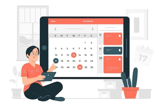 Illustrazione di concetto di calendario online