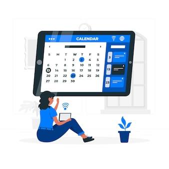 Иллюстрация концепции онлайн-календаря