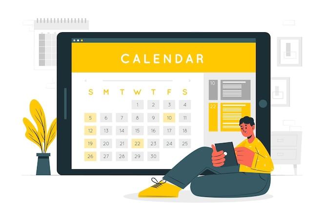Online calendar concept illustration
