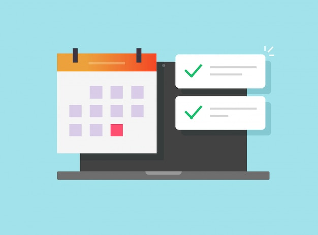 Online calendar and important deadline date task list app on laptop computer