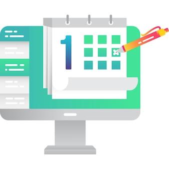 オンラインカレンダースケジュールプランナーアイコンフラットベクトル