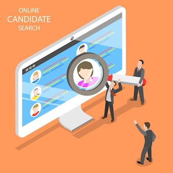 Online candidate search flat isometric. group of hr managers are looking for an new employee.