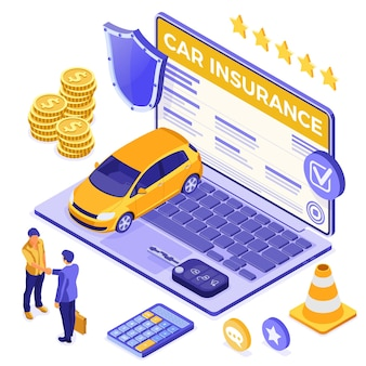Online car insurance isometric concept for poster, web site
