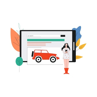 Прокат и покупка автомобилей онлайн, концепция приложений для поиска автомобилей с мультяшным женским персонажем на большом экране