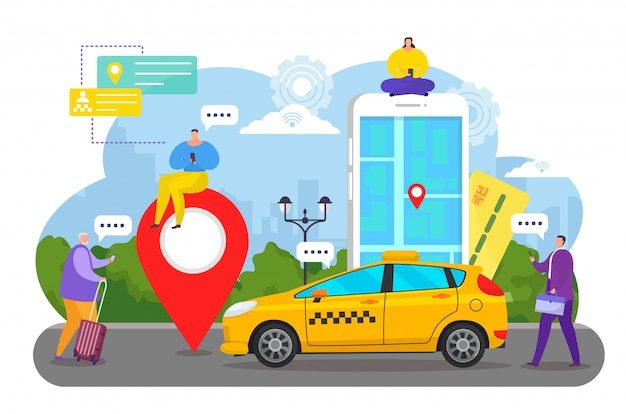 Online car service app , cartoon tiny couple people order taxi cab using smartphone, mobile ordering transport