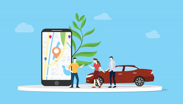 Online car sharing for city transportation with smartphone app maps location gps