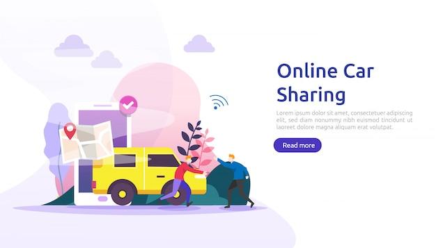 Интернет разделение автомобилей или аренда концепции. мобильный городской транспорт с навигационным смартфоном, онлайн-картой, gps и персонажем для шаблона веб-страницы, баннера, презентации, рекламы или печатных сми