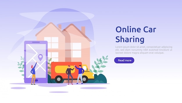 Online car sharing or rental concept. mobile city transportation with navigation smartphone, online map, gps and people character for web landing page template, banner, presentation, ad or print media