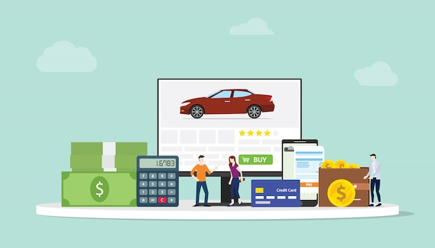 Online car shopping e-commerce technology with team people