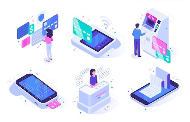 Онлайн касса. оформление покупки на кассовом терминале, торговая точка с покупателями и набор иллюстраций для клиентов банкомата