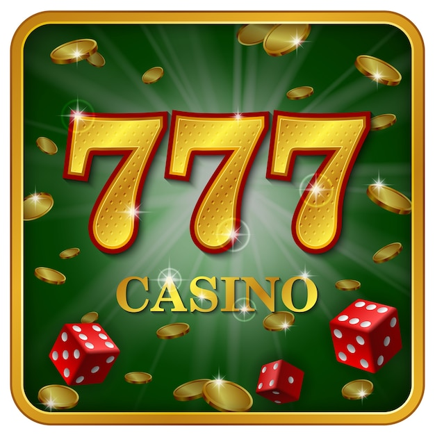 Online casino 777 banner, two casino game dice, golden coins, big win, excitement, prize, pleasure