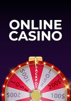 Online casino background poster with wheel of fortune, lucky icon.