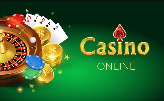 Online casino banner with gold coins cards roulette and chips