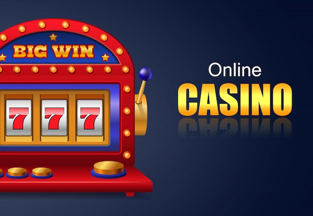 Online casino and big win lettering, lucky seven slot machine.