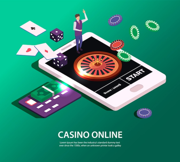 Online casino concept with tablet and tools for gambling illustration