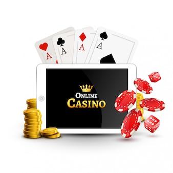 オンラインカジノデザインポスターバナー。ポーカーチップ、コイン、テーブル上のカードを搭載したタブレットします。カジノギャンブルの背景、ポーカーモバイルアプリ