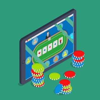 온라인 카지노 평면 3d 아이소 메트릭 운 성공 도박 벡터 개념 태블릿 모바일 장치